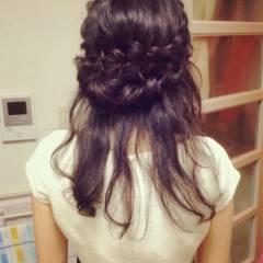 ヘアアレンジ コンサバ ハーフアップ パーティ ヘアスタイルや髪型の写真・画像