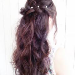 結婚式 ハーフアップ ヘアアレンジ 波ウェーブ ヘアスタイルや髪型の写真・画像