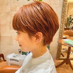 ショートヘア ハンサムショート オレンジカラー モード ヘアスタイルや髪型の写真・画像