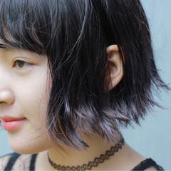 ストリート ダブルカラー パープル 前髪あり ヘアスタイルや髪型の写真・画像