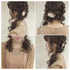 波ウェーブ 結婚式 セミロング ツインテール ヘアスタイルや髪型の写真・画像