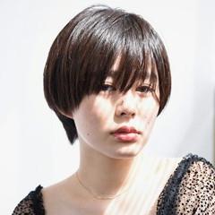 黒髪 ショート ナチュラル 前髪あり ヘアスタイルや髪型の写真・画像