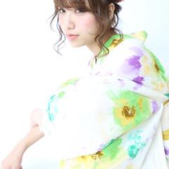 和装 ピュア ヘアアレンジ 夏 ヘアスタイルや髪型の写真・画像