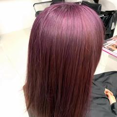 ミディアム ガーリー ピンクラベンダー ブリーチオンカラー ヘアスタイルや髪型の写真・画像