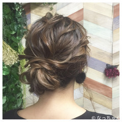 ミディアム パーティ ヘアアレンジ お呼ばれ ヘアスタイルや髪型の写真・画像