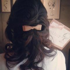 大人かわいい ヘアアレンジ ミディアム ヘアアクセ ヘアスタイルや髪型の写真・画像