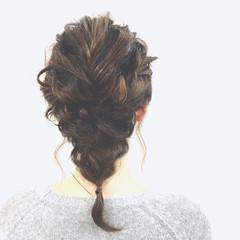ロープ編み 大人かわいい ミディアム 三つ編み ヘアスタイルや髪型の写真・画像