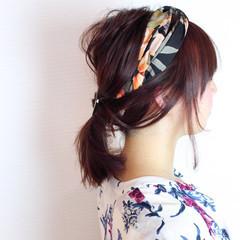 ヘアアレンジ ミディアム 簡単ヘアアレンジ ベージュ ヘアスタイルや髪型の写真・画像
