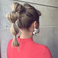 ハイトーン セミロング ストリート ヘアアレンジ ヘアスタイルや髪型の写真・画像