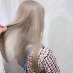 ブリーチ ミルクティーベージュ ブリーチカラー ベージュ ヘアスタイルや髪型の写真・画像