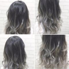 セミロング ハイトーン グラデーションカラー ゆるふわ ヘアスタイルや髪型の写真・画像