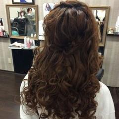 ハーフアップ ヘアアレンジ 結婚式 編み込み ヘアスタイルや髪型の写真・画像