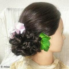 夏 ヘアアレンジ フェミニン セミロング ヘアスタイルや髪型の写真・画像