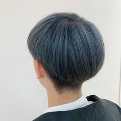 ダブルカラー ブルージュ ブルーアッシュ ショート ヘアスタイルや髪型の写真・画像