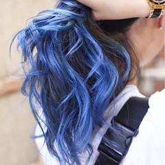 バレイヤージュ ハイライト グラデーションカラー ガーリー ヘアスタイルや髪型の写真・画像