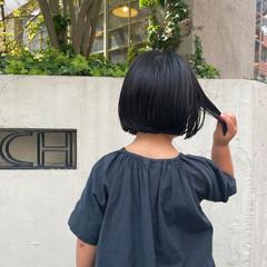 子供 ミニボブ 切りっぱなしボブ ナチュラル ヘアスタイルや髪型の写真・画像