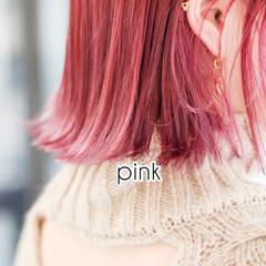 ショート ピンクアッシュ オレンジブラウン ピンクパープル ヘアスタイルや髪型の写真・画像