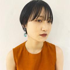 黒髪ショート ショートヘア モード マッシュショート ヘアスタイルや髪型の写真・画像