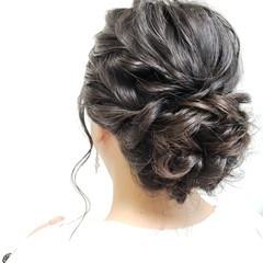 ゆるふわセット シニヨン 結婚式髪型 セミロング ヘアスタイルや髪型の写真・画像