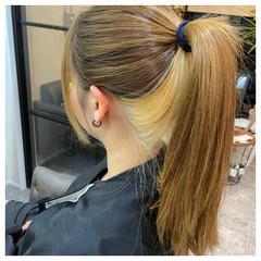 インナーカラー ナチュラル ロング ダブルブリーチ ヘアスタイルや髪型の写真・画像