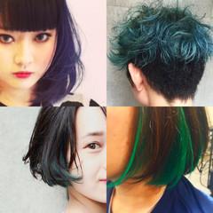 レイヤーカット グラデーションカラー セミロング ストリート ヘアスタイルや髪型の写真・画像