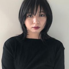 マッシュウルフ 暗髪女子 暗髪 ウルフカット ヘアスタイルや髪型の写真・画像