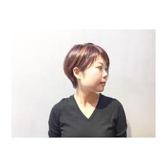 ショート ボルドー マッシュ パープル ヘアスタイルや髪型の写真・画像