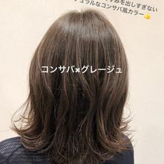 グレージュ ロブ ミディアム ナチュラル ヘアスタイルや髪型の写真・画像