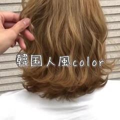 ミディアム 外国人風 ブリーチ 外国人風カラー ヘアスタイルや髪型の写真・画像