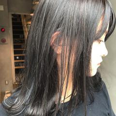 暗髪 秋 ミディアム ストリート ヘアスタイルや髪型の写真・画像