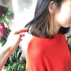 ミディアム 韓国ヘア ヘアカラー アンニュイほつれヘア ヘアスタイルや髪型の写真・画像
