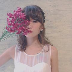 フェミニン ヘアアレンジ ゆるふわ ミディアム ヘアスタイルや髪型の写真・画像