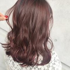 ミディアム 外国人風 ガーリー ラベンダーピンク ヘアスタイルや髪型の写真・画像