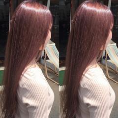 フェミニン ピンクベージュ ロング ピンク ヘアスタイルや髪型の写真・画像