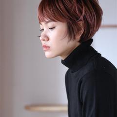 ピンクベージュ ナチュラル ショート ショートヘア ヘアスタイルや髪型の写真・画像