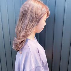切りっぱなしボブ セミロング ラベンダーカラー ラベンダーアッシュ ヘアスタイルや髪型の写真・画像