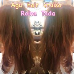 ゆるふわ ベリーピンク セミロング フェミニン ヘアスタイルや髪型の写真・画像
