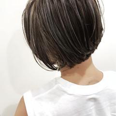 外国人風 ハイライト ボブ バレイヤージュ ヘアスタイルや髪型の写真・画像