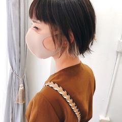インナーカラー グレージュ ショートボブ ショート ヘアスタイルや髪型の写真・画像