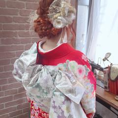 セミロング 編み込み ヘアアレンジ 成人式 ヘアスタイルや髪型の写真・画像