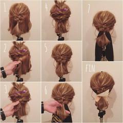 ボブ ゆるふわ フェミニン 簡単ヘアアレンジ ヘアスタイルや髪型の写真・画像