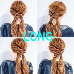 簡単ヘアアレンジ フェミニン ロング ヘアアレンジ ヘアスタイルや髪型の写真・画像