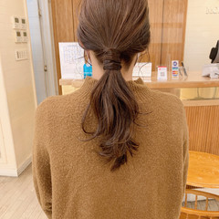 ブラウンベージュ ナチュラル セミロング 簡単ヘアアレンジ ヘアスタイルや髪型の写真・画像