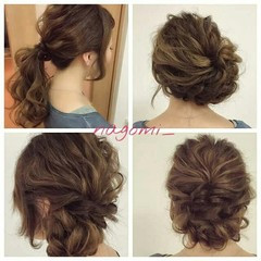 編み込み ヘアアレンジ 大人かわいい 結婚式 ヘアスタイルや髪型の写真・画像
