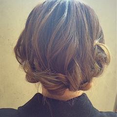 簡単ヘアアレンジ ゆるふわ 大人かわいい セミロング ヘアスタイルや髪型の写真・画像