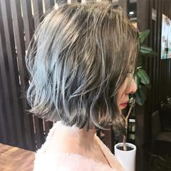 アッシュ ストリート ダブルカラー ボブ ヘアスタイルや髪型の写真・画像