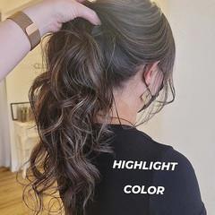 スライシングハイライト ロング モード ホワイトハイライト ヘアスタイルや髪型の写真・画像