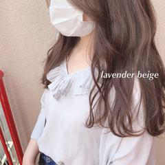 フェミニン 大人可愛い ラベンダーグレージュ ロング ヘアスタイルや髪型の写真・画像