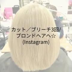 ブリーチ ショート 金髪 外国人風カラー ヘアスタイルや髪型の写真・画像