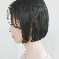前髪 切りっぱなしボブ ストレート ミニボブ ヘアスタイルや髪型の写真・画像